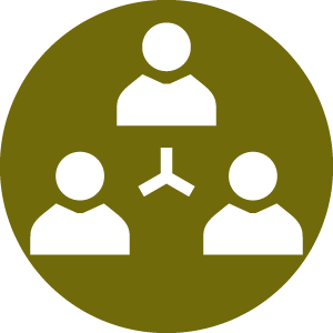 Icon representing the professionals listed in the directory of Collaboratively trained professionals, including divorce lawyers, financial counsellors and mental health professionals, all of whom are trained to obtain an uncontested divorce without going to court.